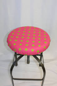 Fitted Elasticized Round Bar Stool Cover, Vanity Stool Or Counter Stool  Cover Hot Pink With Green Polka Dots, Fits 13