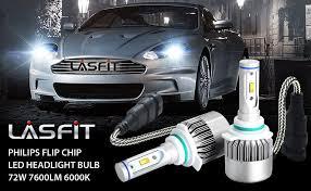 lasfit 9012 hir2 72w 7600lm 6000k led headlight bulb