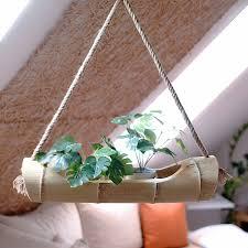 bambus blumenel pflanzenhalter natur blumentopf hänger