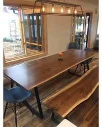 Live Edge Dining Table Kitchen Black Walnut Contemporary Scandinavian Rustic Modern Style Home Industrial Steel