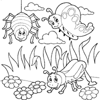 Cute Bug Coloring Page Bugs Looking At You