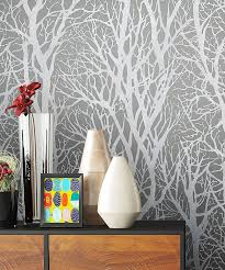 newroom vliestapete blumentapete grau wallpaper floral blumen tapete pflanzen äste wohnzimmer schlafzimmer büro flur kaufen otto