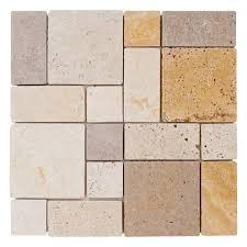 Jeffrey Court Mosaic Tile by Jeffrey Court Brick Medley 12 In X 12 In X 8 Mm Travertine