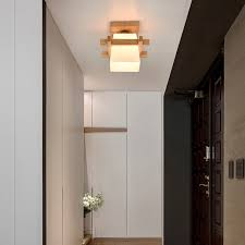 e27 moderne deckenleuchte holz glas minimalistische