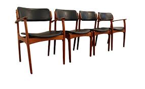 Mid Century Dining Chairs Danish Modern Teak Erik Buch Od Leather