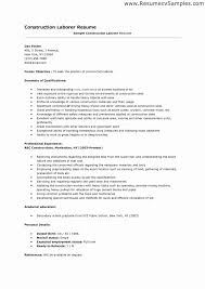General Labor Resume Objective Examples Inspirational Construction With