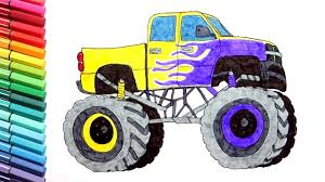 Monster Truck Drawing And Coloring Vehicles - Learning Monster Truck ...
