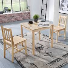 finebuy esszimmer set emilio 3 teilig kiefer holz landhaus stil 70 x 73 x 70 cm natur essgruppe 1 tisch 2 stühle tischgruppe esstischset 2