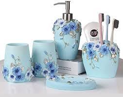 bad accessoires set bad set 5 tlg badezimmer geschenk set eigenschaften seifenspender pumpe zahnbürstenhalter becher und seifenschale