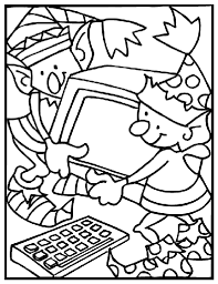 Christmas Elves Working Coloring Page