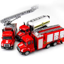 1:64 Aerial Ladder Fire Truck Police Simulation Alloy Car Model Mini ...