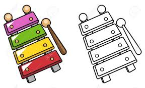 Illustration Isolated Colorful And Black And White Xylophone
