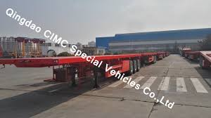 100 Truck Flatbed Hot Item Cimc 40FT Semi Trailer With 3 Axles For Sales Chassis