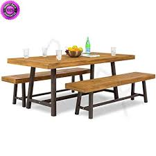 DzVeX 3 Piece Acacia Wood Picnic Style Outdoor Dining Table Furniture And Patio Clearance Sale