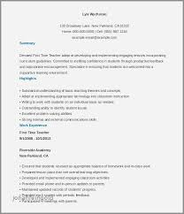 Resume Sample For Beginning Teachers Unique Teacher Examples Example Best Fresh 0d