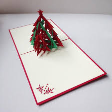 3D Red Green Christmas Tree Handmade Creative Kirigami Origami Pop UP Card Free Shippingset Of 10 On Aliexpress