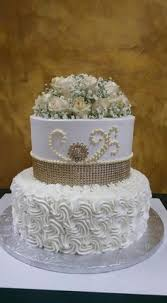 Rosette wedding cake with gum paste or sugar flowers sugar roses