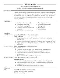Accountant Resumes Examples Payroll Specialist Resume Example Accounting Assistant Objective