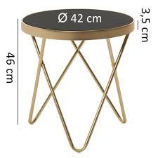 wohnling design beistelltisch 42x46x42cm couchtisch rund schwarz matt gold designer glas wohnzimmertisch modern glastisch mit metallgestell