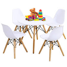 Costzon Kids Table And Chairs Set, Kids Mid-Century Modern Style Table Set  For Toddler Children, Kids Dining Table And Chairs Set, 5-Piece Set(White,  ... High Quality Cheap White Wooden Kids Table And Chair Set For Sale Buy Setkids Airchildren Product On And Chairs Orangewhite Interesting Have To Have It Lipper Small Pink Costway 5 Piece Wood Activity Toddler Playroom Fniture Colorful Best Infant Of Toddler Details About Labe Fox Printed For 15 Childrens Products Table Ding Room Cute Kitchen Your Toy Wooden Chairs Kids Fniture Room