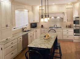 Classic Kitchen Decorating Ideas With White Cabinets And Diy Hanging Lamps