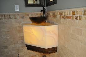 Bathroom Vanity Tops With Sink by Twin Mirror Above Crane And Bowl Sink On Onyx Bathroom Vanity Tops