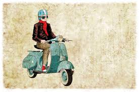 Old Style Bike Vespa Digital Illustration Stock