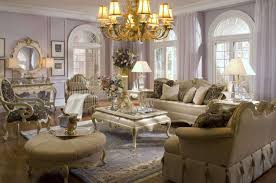 Deluxe Traditional Living Rooms Furniture Designs With Brass Chandelier Shade Lights Over Creamy Fabric Luxury Room Sets Dome Windows As