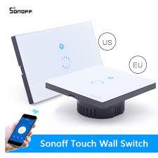 sonoff touch wall wifi light switch us eu intelligent glass panel