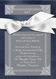 Silver Formal Wedding Invitation With White Ribbon Bow