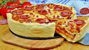 rezept pizza torte mit selbstgemachtem pizzateig pizza kuchen