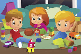 Kids Playing With Their Toys Vector Art Illustration