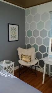 Denvee Teenage Girls Bedroom Update Shades Of Gray And Teals Hexagon Accent Wall