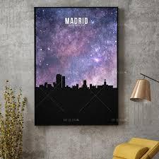 us 2 26 45 abstract nordic canvas painting madrid starry city skyline leinwand kunstdruck wand poster wohnzimmer dekoration modern