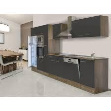 respekta küchenzeile ohne e geräte 370 cm grau seidengl eiche york
