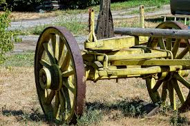 Wood Tractor Farm Wheel Cart Old Transportation Vehicle Yellow Weapon Wooden Steam Engine Cannon Heritage Trailer