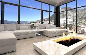 offener kamin im eleganten architektonischen wohnzimmer design mit transparentem glaswänden