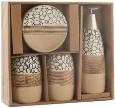 gogh 4 teiliges badezimmer zubehör set mit delicated texture