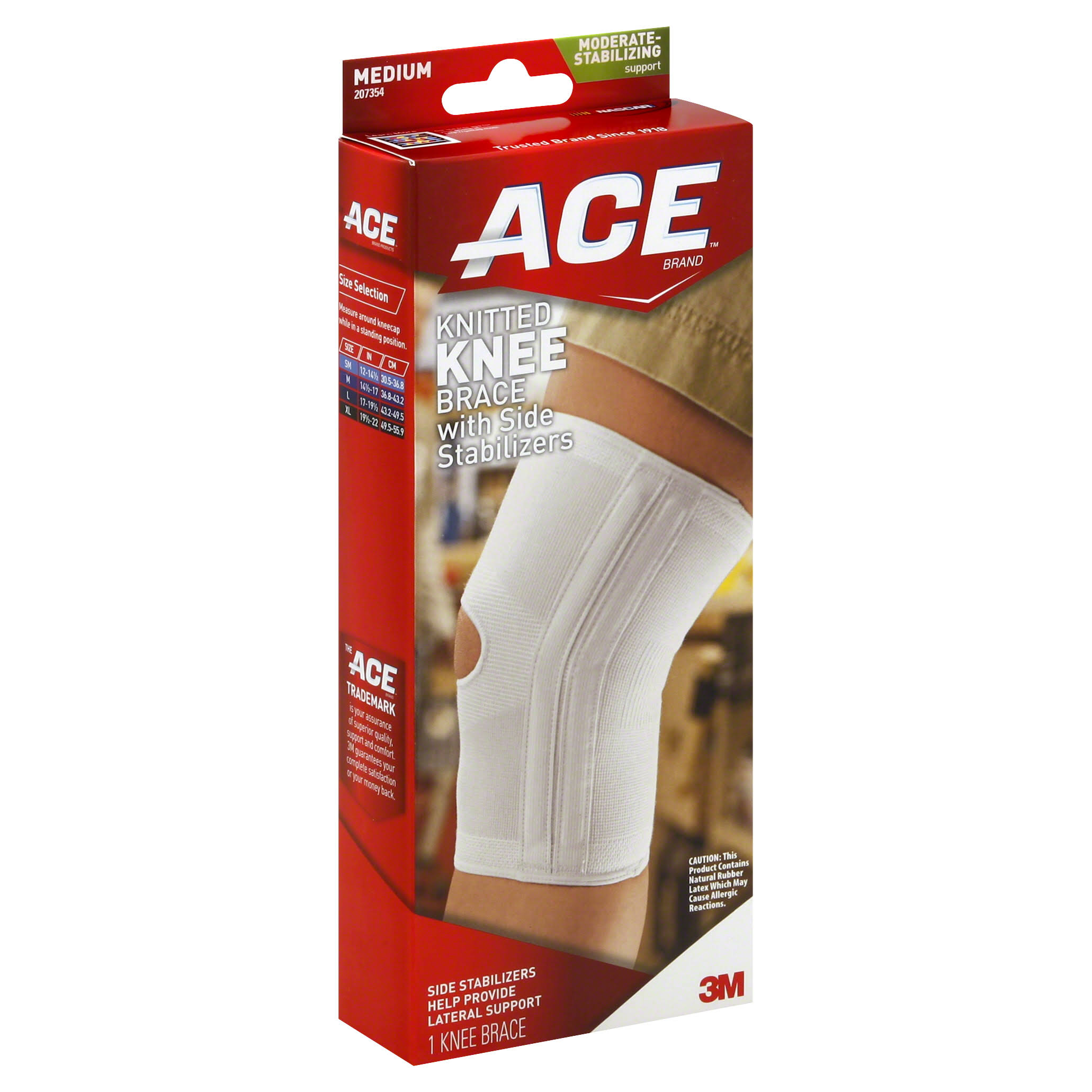 Ace Size M Compression Knee Brace with Side Stabilizers - Medium