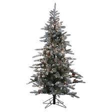 6ft Pre Lit Artificial Christmas Tree White Flocked Pine