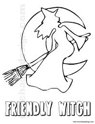 View And Print Friendly Witch On Broom Halloween Kids Coloring Page