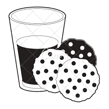 Chocolate Chip Cookies with Glass of Milk Black Color Section Silhouette on White Background