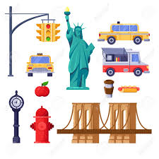 100 Food Truck License Nyc New York City Symbols Set Vector Travel Isolated Illustration