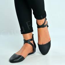 ladies ankle strap ballerina womens flats court pumps summer comfy