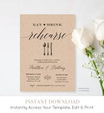 Rehearsal Dinner Invitation Template Printable Rustic Wedding Invite INSTANT DOWNLOAD Editable Digital NC 106RD