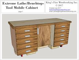 Extreme Lathe Benchtop Tool Mobile Cabinet Plans Kings Fine Woodworking Inc