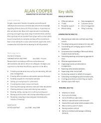 Executive Resume Samples Free Administrative Assistant Template Admin Sales Support Sample Ex