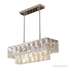Modern Crystal Chandelier Rectangle Dining Room Lighting Fixtures Luxury Kitchen Island LED Lustres De Cristal Pendant