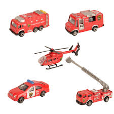 100 Metal Fire Truck Toy BOHS Mini Alloy Red Miniature Aerial Ladder