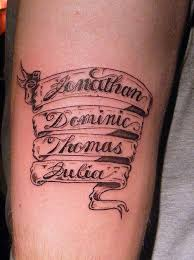 A Few Artistic Effects Can Change The Whole Look Of Tattoo Here See Four Names Inked One Below Other Like Flowing Scroll